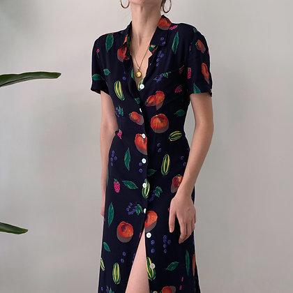 Favorite Vintage Fruit Print Midi Dress