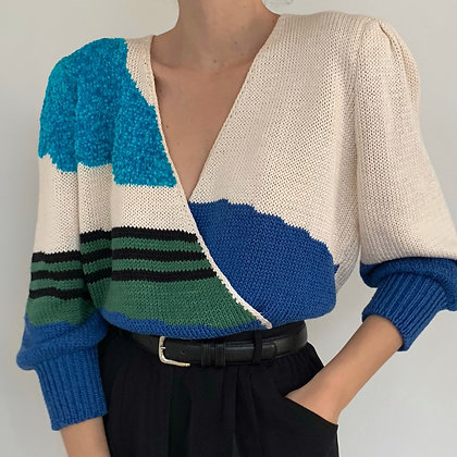 Favorite Vintage Abstract Wrap Knit Blouse