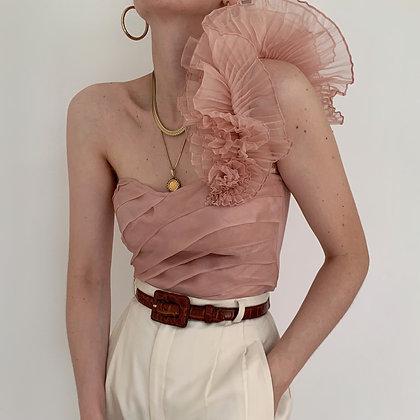 Vintage Rose Silk Ruffle One-Shoulder Top