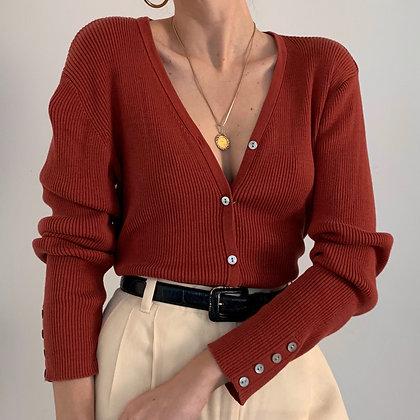 Vintage Rust Silk Blend Ribbed Cardigan