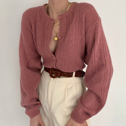Vintage Rose Wool Angora Knit Cardigan
