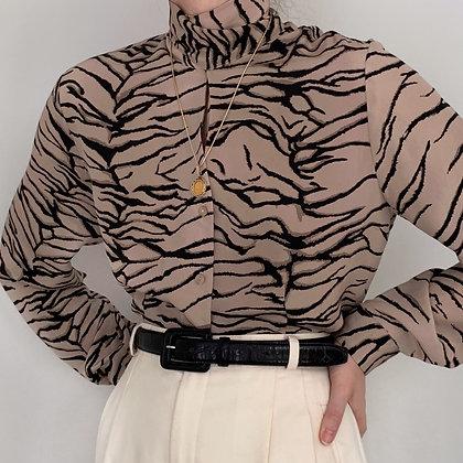 Vintage Animal Print Silk Tie Blouse