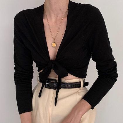 Vintage Onyx Cropped Wrap Tie Top