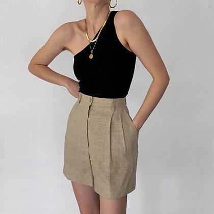 Vintage Ecru Linen High-Waisted Shorts (26W)