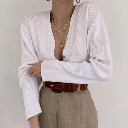 Vintage Minimalist Snow Ribbed Knit Cardigan