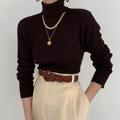Deadstock Vintage Coffee Ribbed Knit Turtleneck