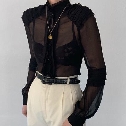 Vintage DVF Noir Silk Buttoned Blouse