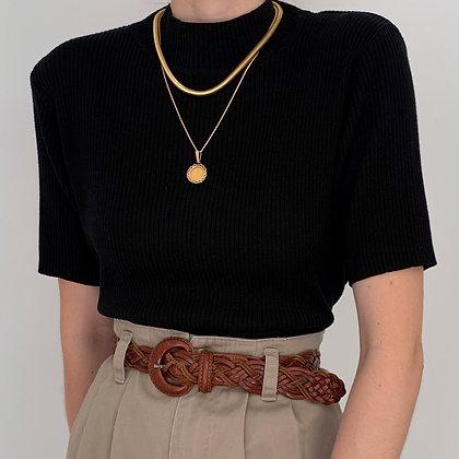 Vintage Black Ribbed Knit Mock Neck Shirt