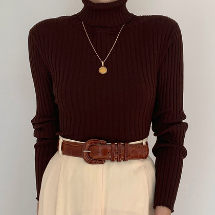 Vintage Chocolate Ribbed Knit Turtleneck