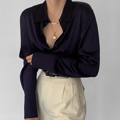 Vintage Aubergine Silk Charmeuse Button Up
