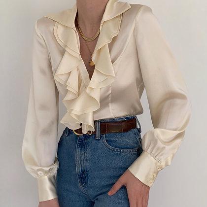 Deadstock Vintage Ivory Silk Ruffled Blouse