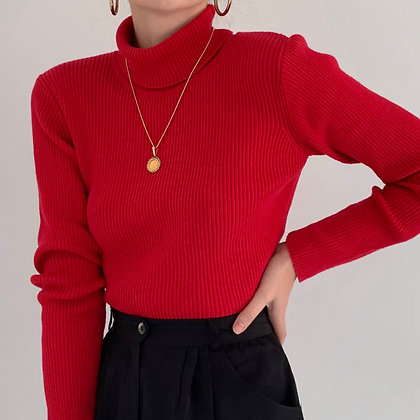 Vintage Scarlet Red Ribbed Turtleneck