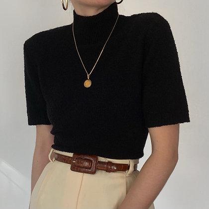 Vintage Noir Wool Boucle Knit Top