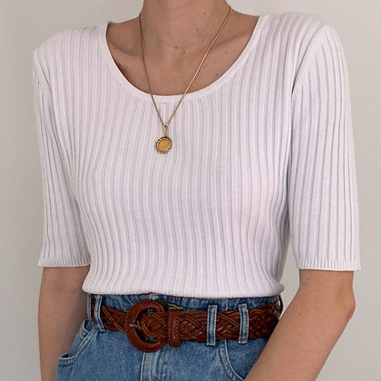 Vintage White Ribbed Knit Shirt