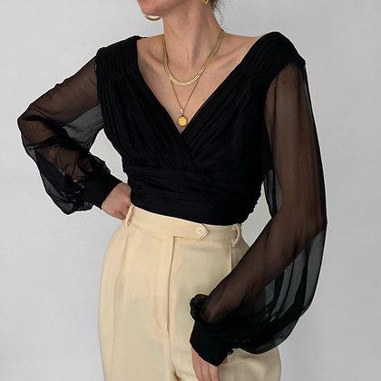 Vintage Noir Silk Ruched Sheer Sleeved Top