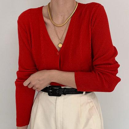 Vintage Poppy Red Knit Cardigan