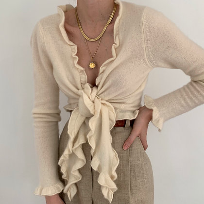Vintage Ivory Cashmere Ruffle Tie Top