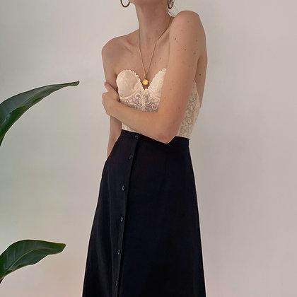 Vintage Black Linen Midi Skirt (26W)