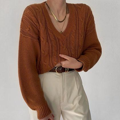 Vintage Amber Cable Knit V-Neck Sweater