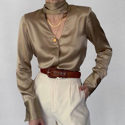 Vintage Lafayette 148 Taupe Silk Necktie Blouse