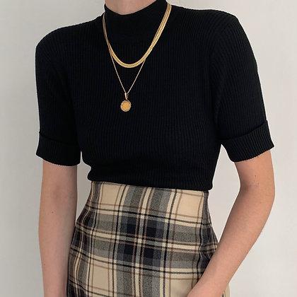 Vintage Noir Silk Ribbed Knit Mock Neck