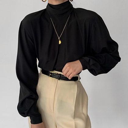 Vintage Christian Dior Noir Mock Neck Blouse