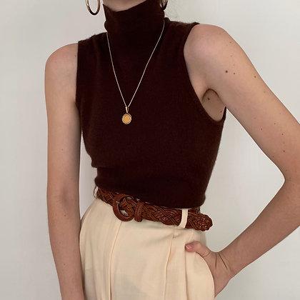 Vintage Chocolate Cashmere Mock Neck