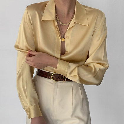 Vintage Butter Silk Charmeuse Button Up