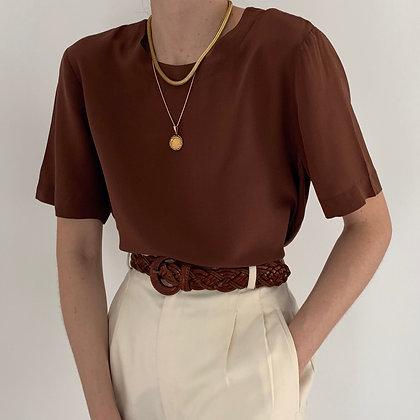 Vintage Minimalist Pecan Silk Boxy Shirt
