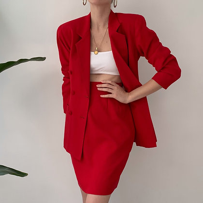 Vintage Cherry Red Skirt Suit Set (25W)