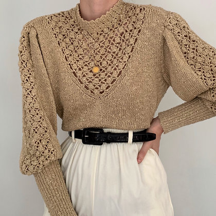 Vintage Fawn Mutton Sleeve Knit Sweater