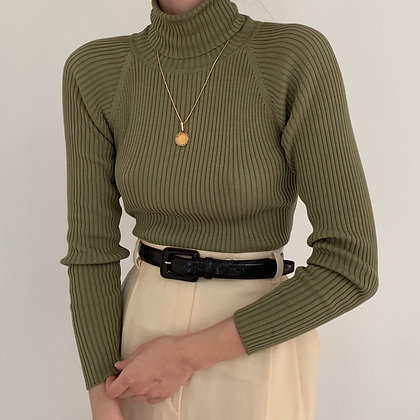 Vintage Sage Silk Ribbed Turtleneck