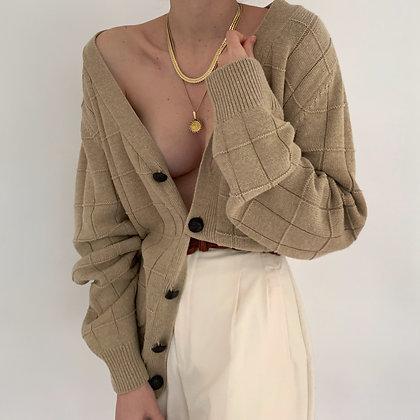 Vintage Oat Grid Knit Pocketed Cardigan