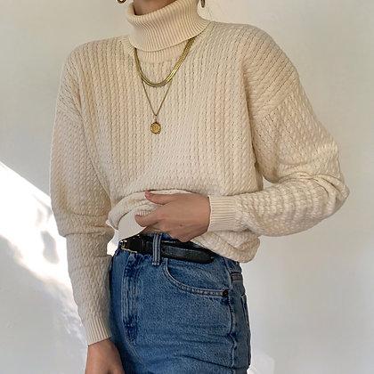 Vintage Cream Cable Knit Turtleneck Sweater