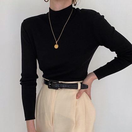 Vintage Noir Silk Blend Knit Mock Neck Top