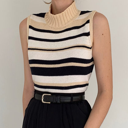 Vintage Neutral Striped Sleeveless Knit