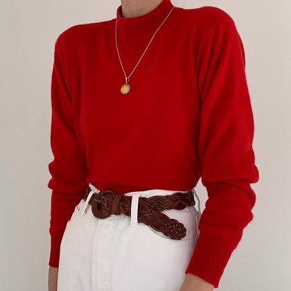 Vintage Cherry Red Cashmere Mock Neck Knit