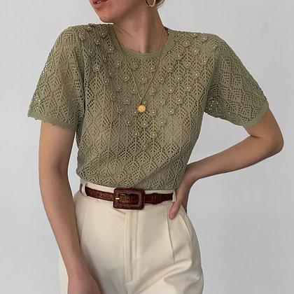Vintage Sage Crochet Knit Pearl Appliqué Top