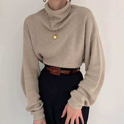 Vintage Oat Funnel Neck Knit Sweater
