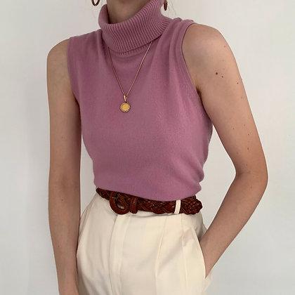 Deadstock Vintage Rose Cashmere Knit Turtleneck