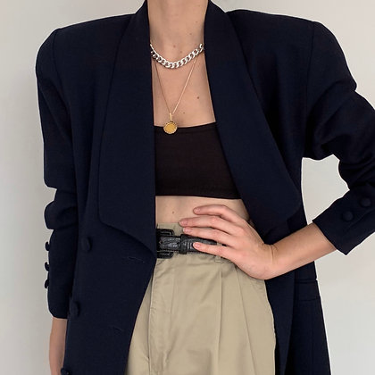 Vintage Navy Wool Double-Breasted Blazer