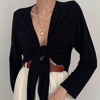 Vintage Onyx Tie Wrap Blouse