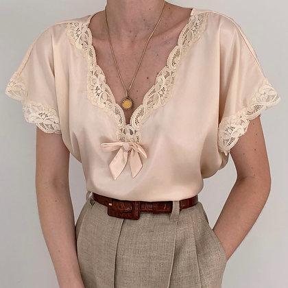 Vintage VS Peach Lacy Bow Blouse