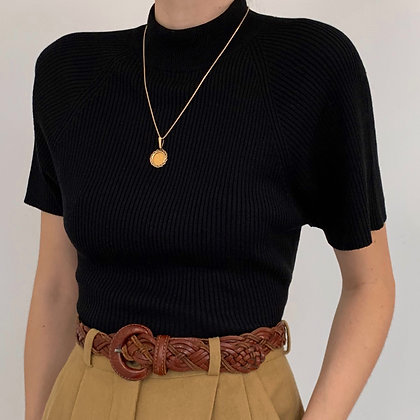 Vintage Black Silk Ribbed Mock Neck Shirt