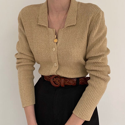 Vintage Oat Buttoned Ribbed Knit