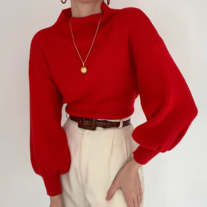 Vintage Poppy Angora Balloon Sleeve Knit