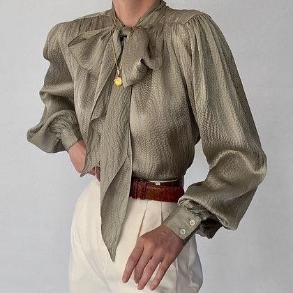 Vintage Sage Textured Silk Tie Bishop Sleeve Top