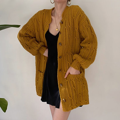 Vintage Ochre Chunky Cable Knit Duster