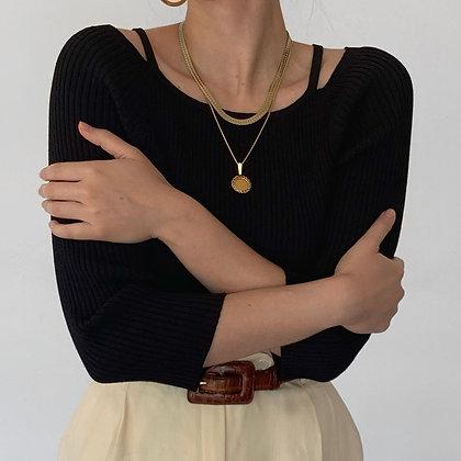 Vintage Noir Ribbed Knit Shoulder Cutout Top