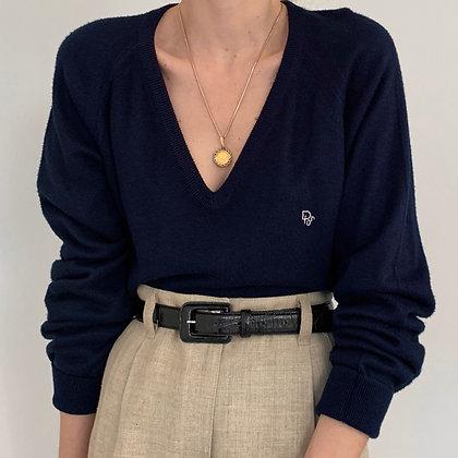 Vintage Dior Navy V-Neck Knit Sweater